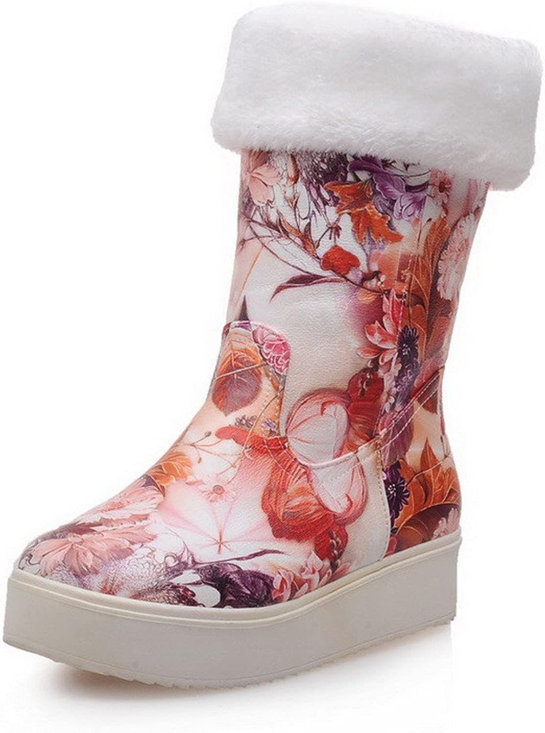 WeenFashion Women's Pull-On Low-Heels PU Assorted color Mid-Top Boots