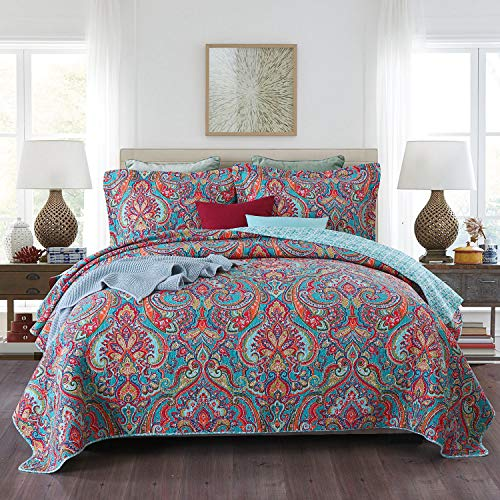 Qucover Tagesdecke Bettüberwurf 220 x 240 cm Paisley Muster Gesteppte Decke aus Baumwollmischung Boho Stil mit Kissen Set