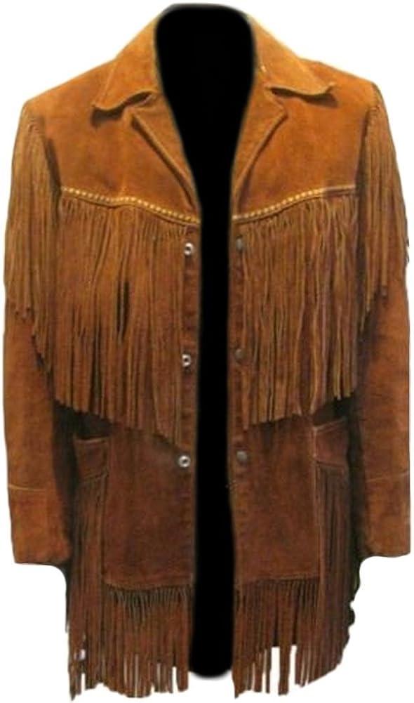 Classyak Men's Fashion Fringed Suede Leather Jacket