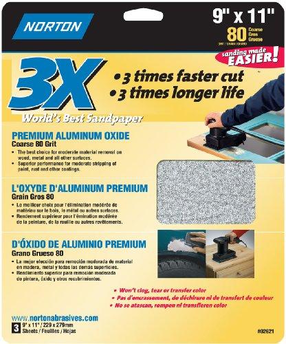 """Norton Co. 2621 Handy Aluminum-Oxide 80 Grit Sandpaper, 9"""" x 11"""""""
