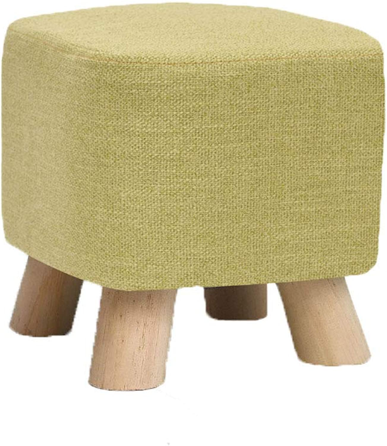 NJ STOOLS- Solid Wood shoes Stool Creative Square Stool Fabric Stool Sofa Stool Coffee Table Stool Home Stool (color   Green, Size   28x28x25cm)