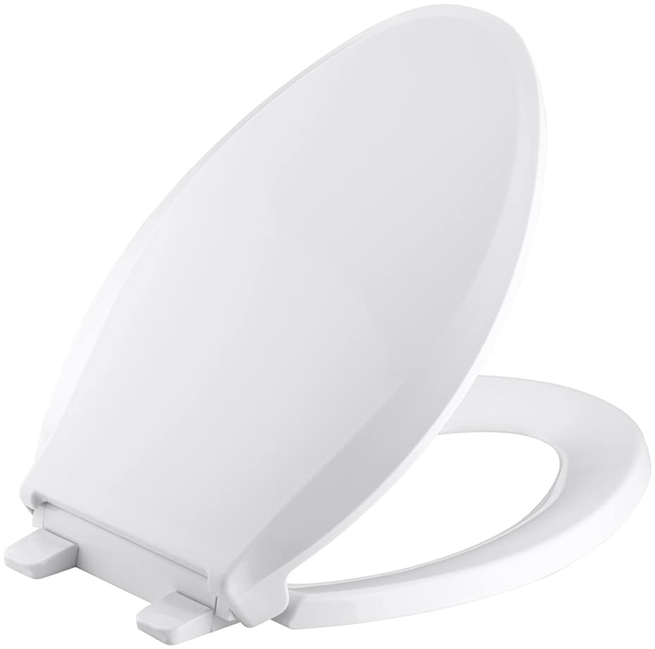 KOHLER K-4636-0 Cachet Elongated White Toilet Seat, with Grip-Tight Bumpers, Quiet-Close Seat, Quick-Release Hinges, Quick-Attach Hardware, No Slam Toilet Seat, white odnemo54211