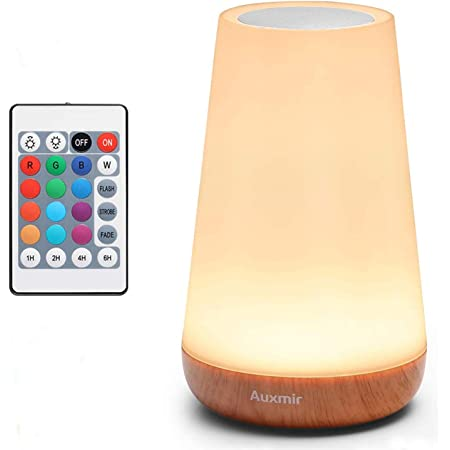 AuxmirNightLight,LEDTouchBedsideTableLamp, USBRechargeable, RemoteControlDimmable LightwithRGBColorChanging,Portable Lamp forBaby,Kids,Bedroom, Living Room,Camping