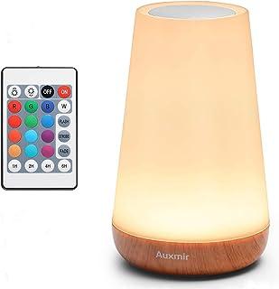 Auxmir Veilleuse LED, Lampe de Chevet Colorée, Lampe Nuit Tactile avec 13 Couleurs Changeantes, Lampe de Table Rechargeabl...