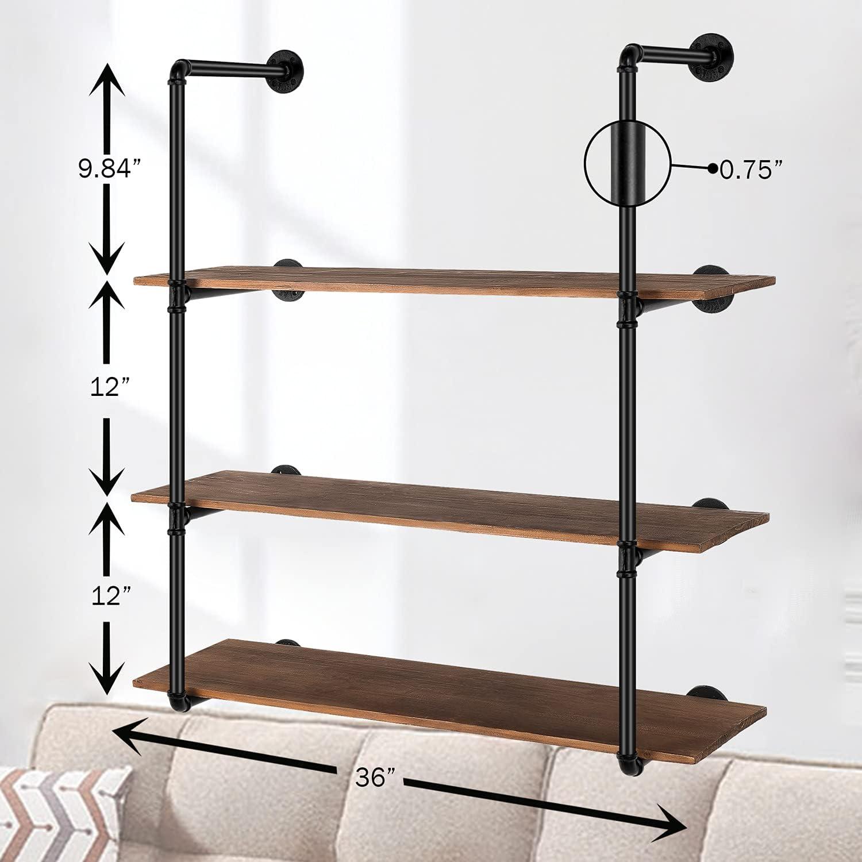 Buy Floating Shelves Wall Mounted,20in Industrial Rustic Metal ...