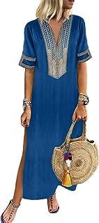 Sidefeel Women Short Sleeve Slit Summer Maxi Long Dress Beach Kaftan