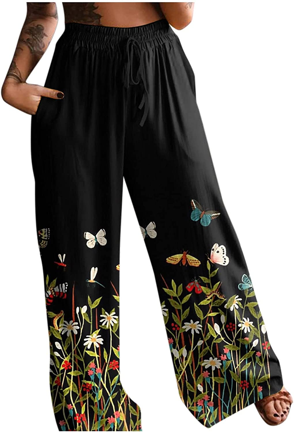 Women's Stretchy Wide Leg Palazzo Lounge Pants Casual Floral Print Belted Summer Beach High Waist Wide Leg Pants with Pockets