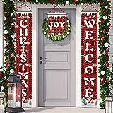 Banners Navidad Couplet cortina Banner, Feliz Navidad Porche Signo Año Nuevo Decoración de Navidad Fiesta Decoración para Porche Puerta Frontal Chimenea Pared Garaje Interior Exterior (R2)