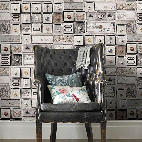 Fresco 100048 Papel pintado, gris