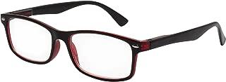 TBOC Gafas de Lectura Presbicia Vista Cansada – Graduadas +1.50 Dioptrías Montura de Pasta Bicolor Negra y Roja de Diseño Moda para Hombre y Mujer Unisex con Lentes Aumento Leer Ver de Cerca