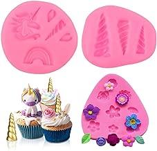 Sakolla Mini Unicorn Mold - Unicorn Horn Ears Rainbow Flower Silicone Cake Fondant Mold Set,Cupcake Toppers Chocolate Mold for Unicorn Theme Party and Kids Birthday Decoration(Set of 3)