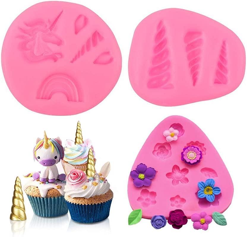 Sakolla Mini Unicorn Mold Unicorn Horn Ears Rainbow Flower Silicone Cake Fondant Mold Set Cupcake Toppers Chocolate Mold For Unicorn Theme Party And Kids Birthday Decoration Set Of 3
