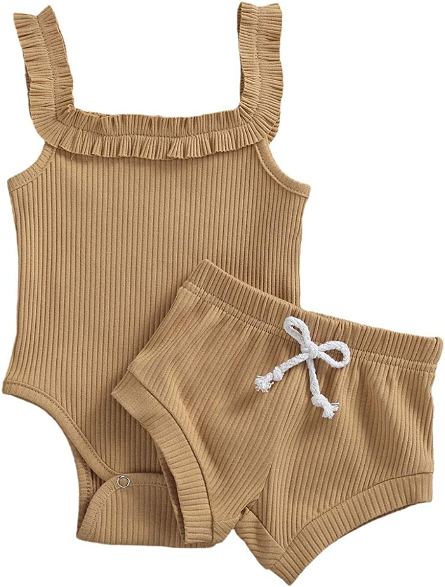 Newborn Baby Girl Solid Color Suspender Romper Button Jumpsuit+Ruffled Shorts Little Girl Two Piece Outfits Set