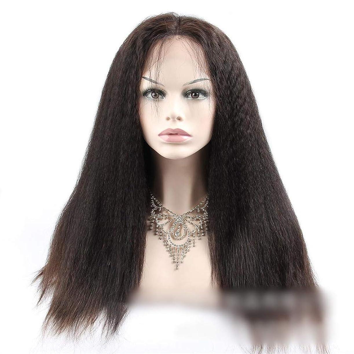 ゲート読みやすさアフリカ人Yrattary 360人間の髪の毛のレースの閉鎖前頭変態ストレートヘア高密度ヘアエクステンション小さなカーリーウィッグ (色 : ブラック, サイズ : 22 inch)