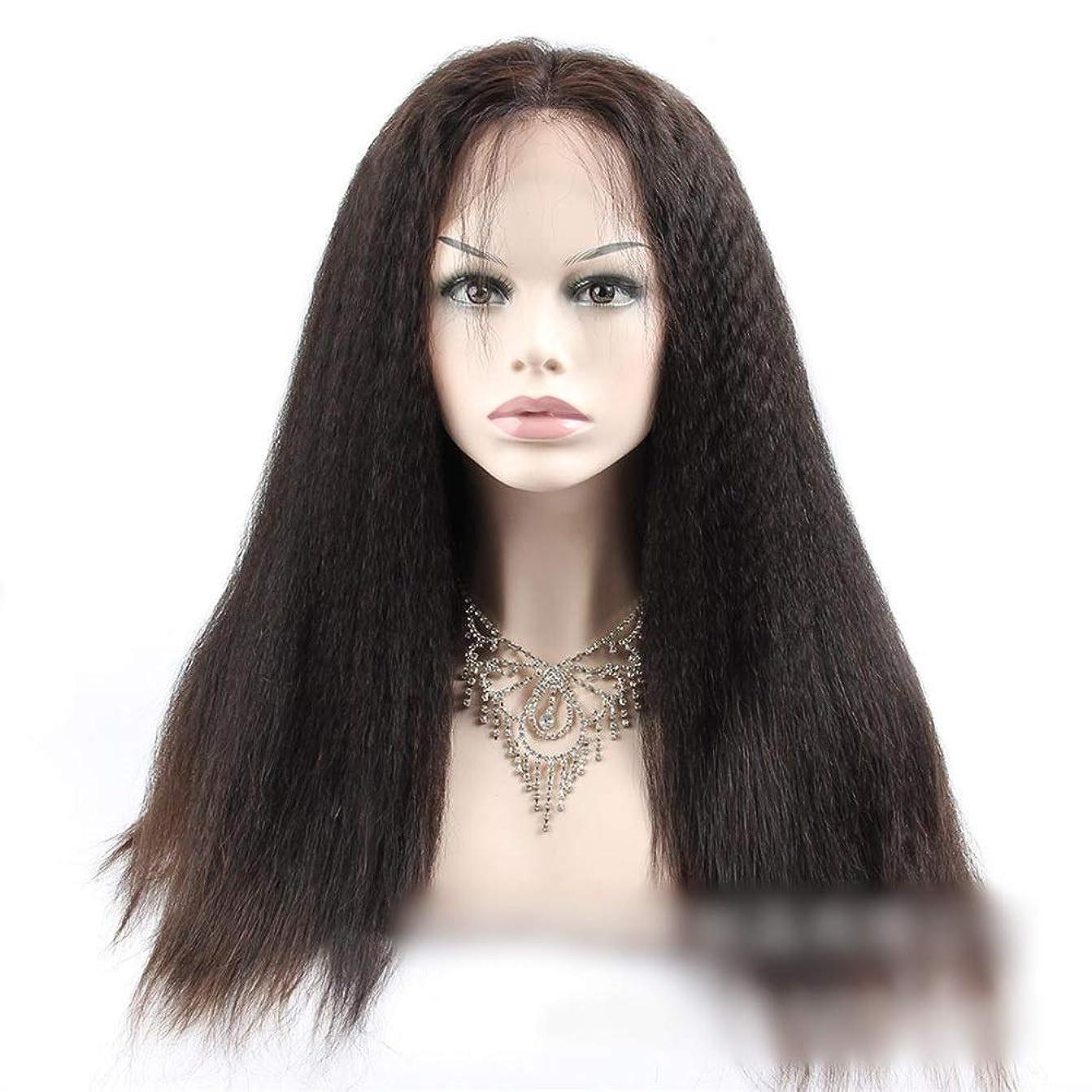 作曲する疑い者五月BOBIDYEE 360人間の髪の毛のレースの閉鎖前頭変態ストレートヘア高密度ヘアエクステンション小さなカーリーウィッグ (色 : 黒, サイズ : 22 inch)