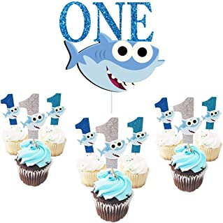 ONE Birthday Cake Topper with1st Cupcake Toppers Shark Birthday for Boy First Birthday Baby Shower Party Supplies (Blue)