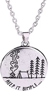 Stylish ClassicKeep it SimpleAlphabet Outdoors Camping Fire Landcsape Pendant Necklace