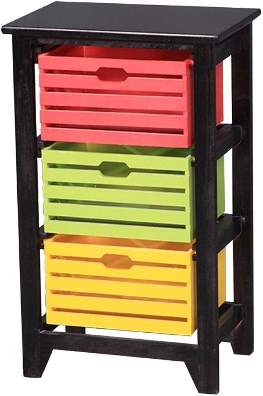 Benzara BM165172 Three Tier Wooden Storage Cabinet, Multicolour