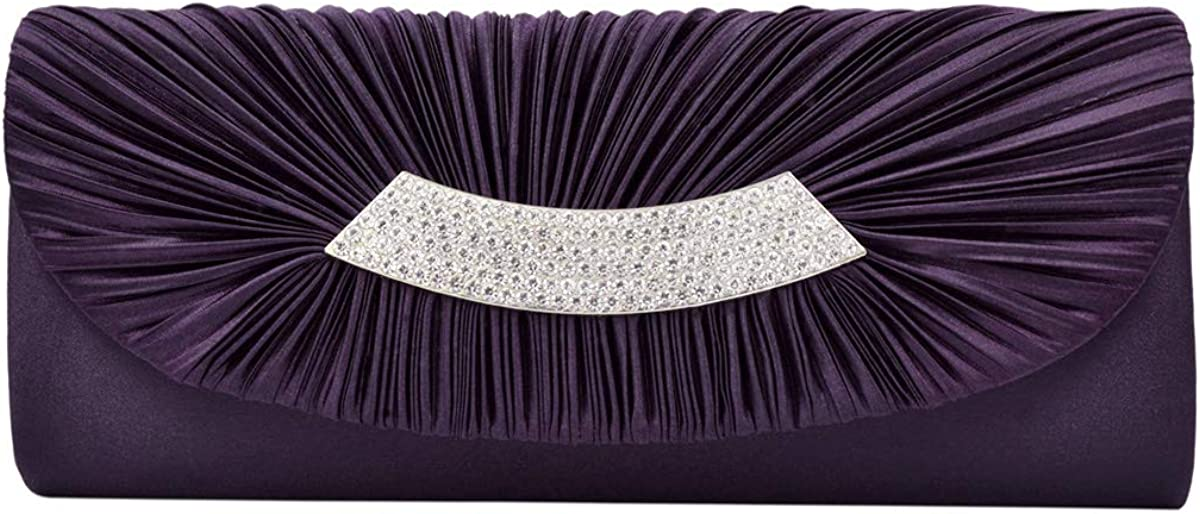 Elegant Pleated Satin Flap Crystal Clutch Evening Bag - Diff Colors Avail