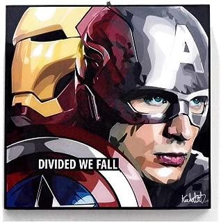 Pop Art Superhero Quotes - [Captain America & Iron Man - Civil War] Marvel Comics Framed Acrylic Canvas Poster Prints Artwork Modern Wall Decor, 10