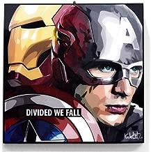 "Pop Art Superhero Quotes - [Captain America & Iron Man - Civil War] Marvel Comics Framed Acrylic Canvas Poster Prints Artwork Modern Wall Decor, 10""x10"""