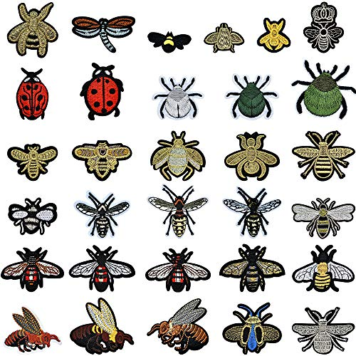 PGMJ 31 Pieces Cute Insect Patches Applique Sew Iron on Embroidered Sewing Iron on Bees Patches Sewing Patch Bags Jackets Jeans Clothes Caps