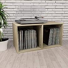 vidaXL Boîte de Rangement de Vinyles Armoire de Classement Table de Chevet Etagère de Collection de Disques Bureau Chambre...
