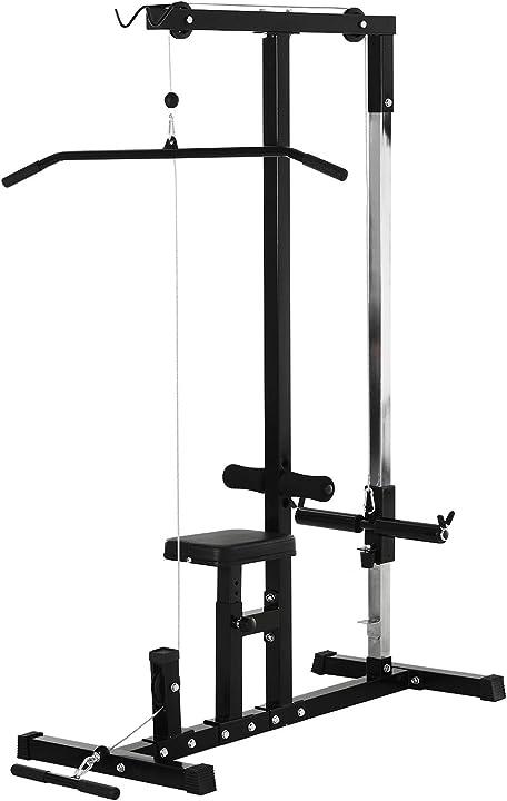 Stazione fitness pull down per palestra in casa con panca e cavo regolabile, in acciaio 103x120x180cm nero ITA91-0930631