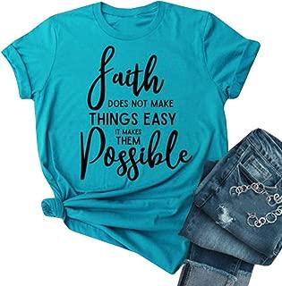 Women's Faith Letter Print T-Shirts Short Sleeve Crew Neck Cotton Summer Tee Tops