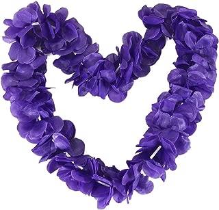 Tropical Hawaiian Luau Ruffled Simulated Silk Flower Leis Party Favor Pack of 10-Purple