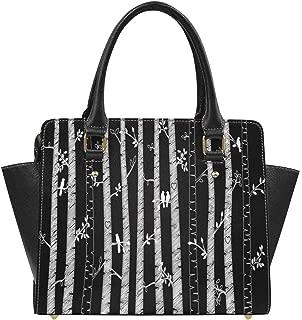 Chalkboard Birch or Aspen Trees With Autumn Leaves Large Capacity PU Leather Handbag Shoulder Bag