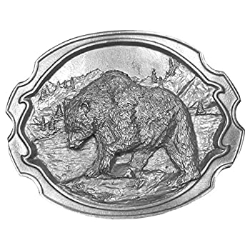 Grizzly Bear Fishing Antiqued Belt Buckle