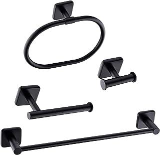 HANEBATH 4-Piece Bathroom Hardware Accessories Set Complete, Matte Black, Wall Mounted Towel Bar, Towel Ring, Toilet Paper Roll Holder, Robe Hook
