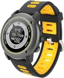 GXFNS Reloj Inteligente GPS Rastreador De Ejercicios con Altímetro Barómetro Brújula Monitor De Ritmo Cardíaco IP68 Reloj Deportivo Digital Resistente Al Agua para Deportes Al Aire Libre,Amarillo