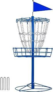 YAHEETECH Disc Golf Basket Target Double Chains Portable Practice Target Frisbee Golf Basket Steel Hole Frisbee Golf net M...