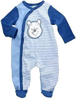 Babybogi Winnie Pooh Baby Strampler | Größe 62-68 74-80 | Disney Strampler Blau für Junge | Baby Schlafanzug Langarm mit Füßchen
