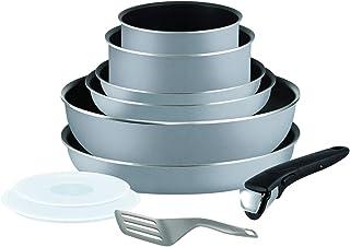Tefal Ingenio Essential Batterie de cuisine 10 pièces, Poêles, Casseroles, Wok, Couvercles hermétiques, Spatule, 1 poigné...