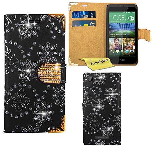 HTC Desire 320 Hülle, FoneExpert® Bling Luxus Diamant Hülle Wallet Hülle Cover Hüllen Etui Ledertasche Premium Lederhülle Schutzhülle für HTC Desire 320 + Bildschirmschutzfolie (Schwarz)