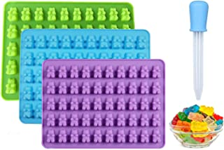 ZoomPlus Gummy Bear Silicone Molds for Make Chocolate Candy Jelly, pack of 3 Non-Stick Baking Molds with 1 Dropper.