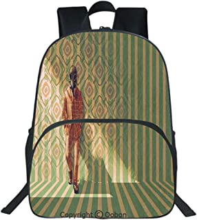Oobon Kids Toddler School Waterproof 3D Cartoon Backpack, Fashion Man with Gas Mask Fancy Suit before Retro Wall Kitsch Art, Fits 14 Inch Laptop