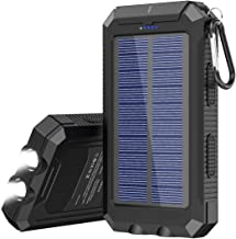 Solar Charger, 20000 mAh Portable Solar Power Bank for Cell Phone Waterproof External Backup Solar Battery Charger with Dual 2 USB Port/LED Flashlights Compatible All Smartphone, Tablet, and More