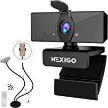 1080P Webcam with Ring Light Stand Kits, NexiGo FHD USB Web Camera with Microphone and Privacy Cover, Flexible Desk Mount ...