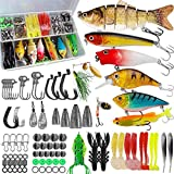 Fishing Lures Baits Tackle Fishing Accessories Kit Including Crankbaits, Spinnerbaits,Jig Hooks, Plastic Worms, Topwater Lures, Tackle Box and Fishing Gear Lures Kit Set