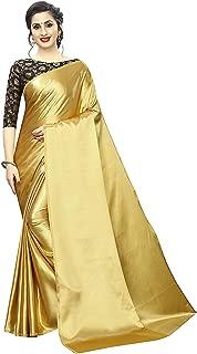Any Designer Women's Ethnic Wear Soft Satin Shiny Silk Plain Saree With Designer jacquard Blouse