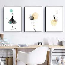 Acuarela Ballerine Girl Canvas, Art Prints y Poster Artoon Girl illustration Canvas, Art Painting Decoración de pared 50x70cmx3 Sin marco