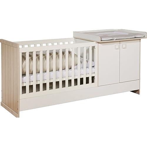 roba Multi Funktionsblock 'Grow Up', mitwachendes Kinderzimmer: Babybett 60x120 cm & Wickelkommode wird zu Bett 90x200 cm & Kommode für Kinder