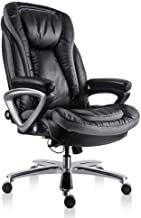 High Back Executive Thick Padding Headrest and Armrest Home Office Chair with Tilt Function, Black, Large
