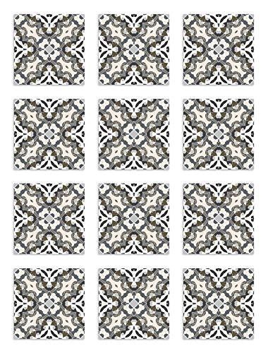 Panorama Azulejos Adhesivos Cocina Baño Pack de 72 Baldosas de 10x10 cm Hidráulico Oriental Gris - Vinilos Cocina Azulejos - Revestimiento de Paredes - Cenefas Azulejos Adhesivas