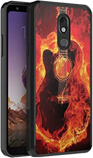 Moriko Compatible with LG Stylo 5 [Fusion Slim Thin Fit Hybrid Soft Grip Drop Protection Dust Proof Shockproof Full Body Black Case Protector Cover] for LG Stylo 5 2019 (Fire Flames Guitar)