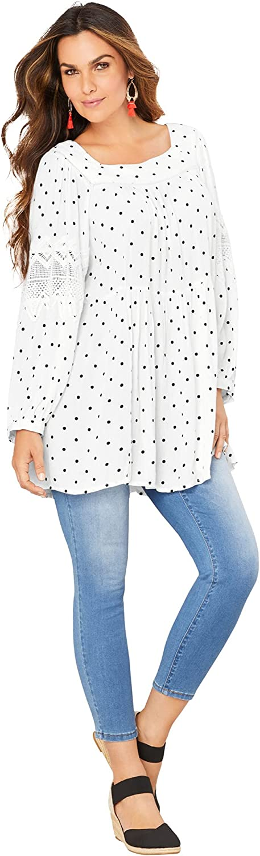 Roamans Women's Plus Size Square-Neck Crinkle Big Shirt Long Shirt Blouse